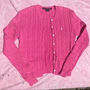 Hot pink polo cardigan